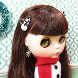 Blythe doll barrettes with glitter snowman