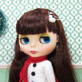 Snowman barrettes for Blythe & Pullip dolls