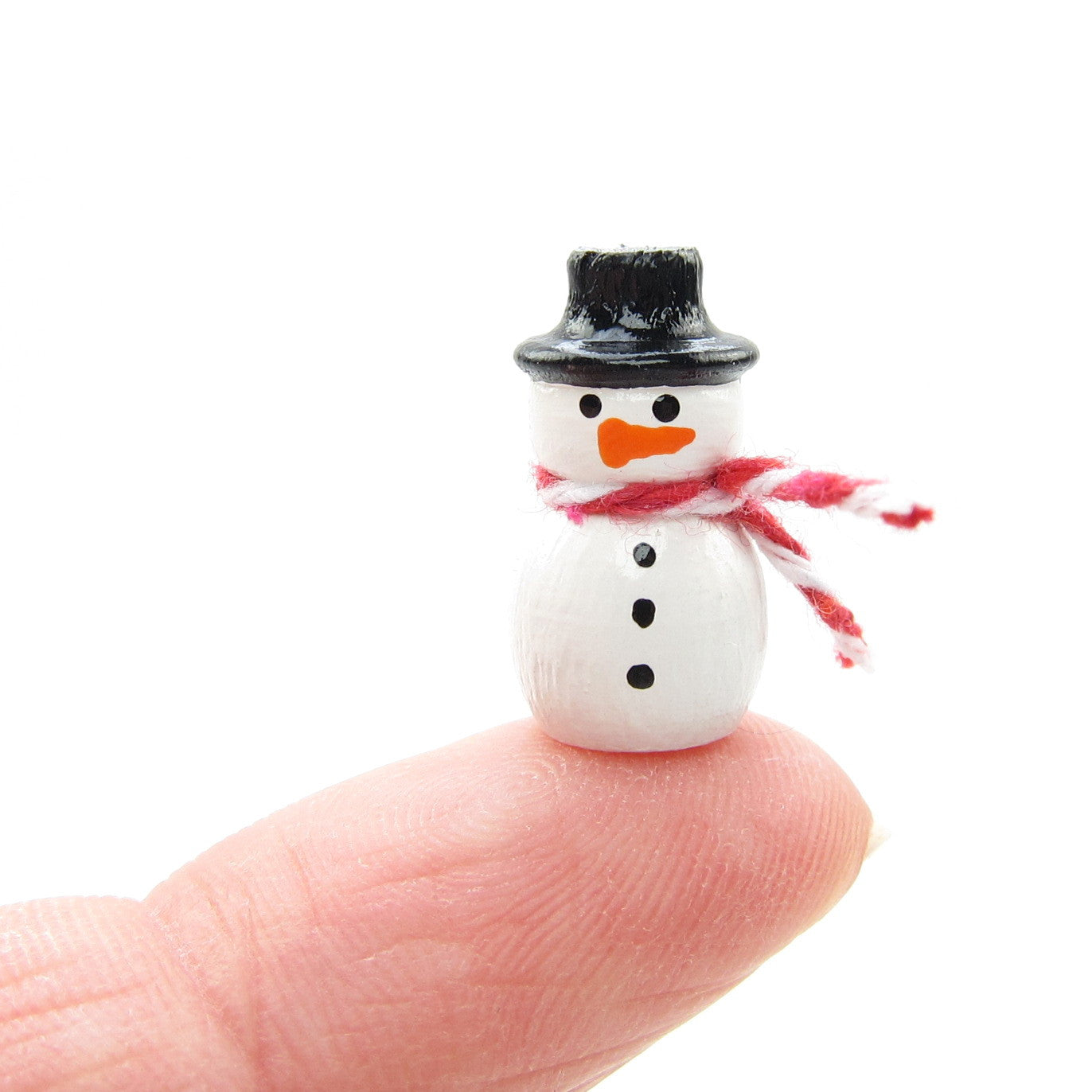 Miniature wooden hand painted snowman figurine