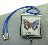 Blue Butterfly Necklace with Soldered Glass Pendant