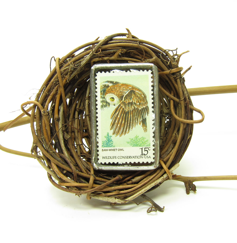 Owl Brooch Postage Stamp Soldered Glass Pin Saw Whet Owl