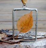Soldered Glass Pendant with Yellow Fall Leaf