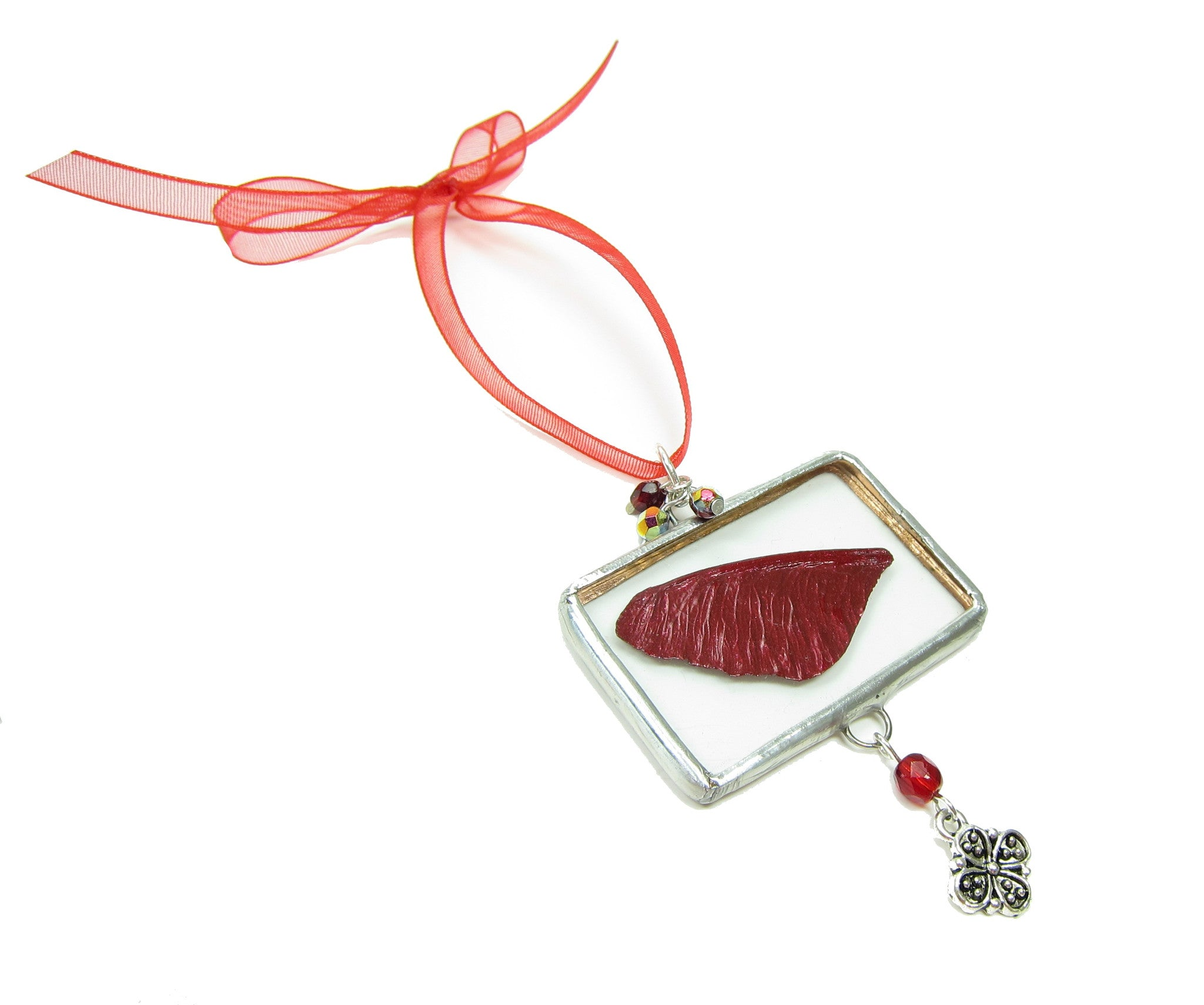 Red fairy wing soldered glass Christmas tree ornament