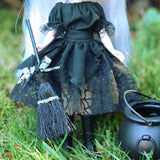 Black Halloween Blythe or Pullip skirt with cobweb fabric