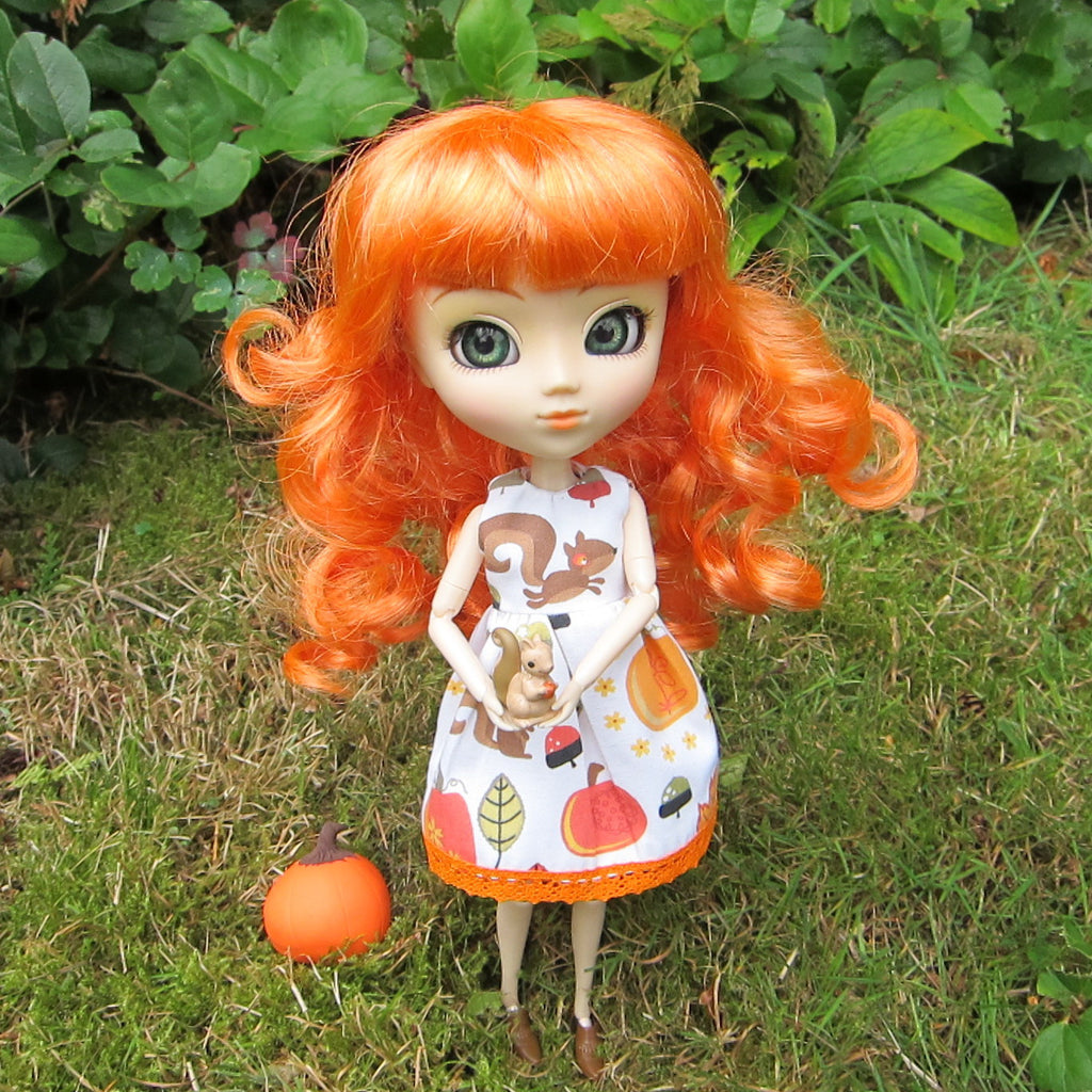 Autumn Dress for Blythe or Pullip Dolls with Fall Squirrels & Pumpkin Print