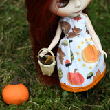 Playscale doll dress in fall or autumn print