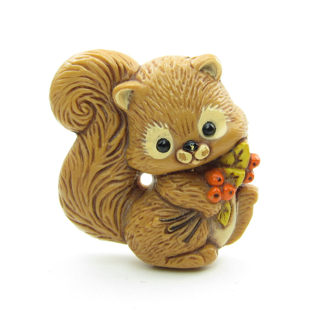 Squirrel Pin Vintage Hallmark Lapel with Leaves & Berries