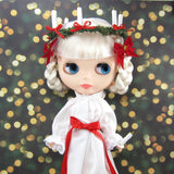 White Saint Lucy's day gown for Blythe with red sash, candle crown