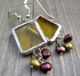 Soldered glass earrings with freshwater pearls