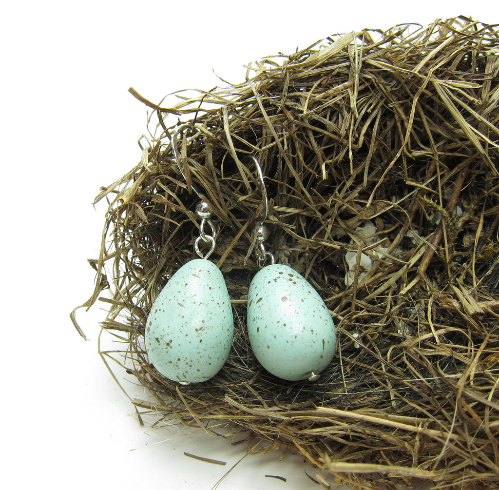 Robin's Egg Earrings Polymer Clay Eggs