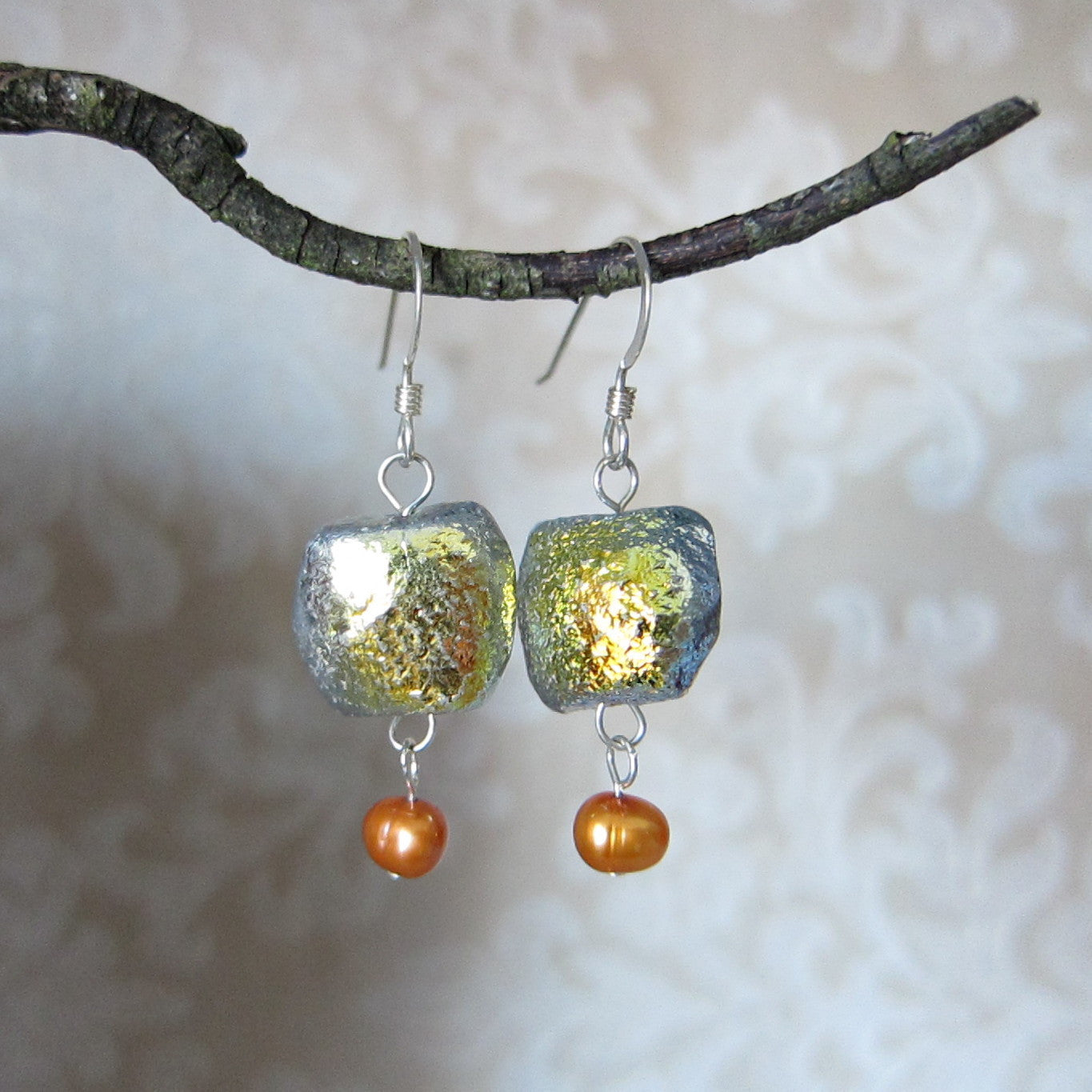 Sterling Silver Earrings with Orange Freshwater Pearls