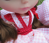 Blythe dress with red polka dots and ruffled sleeves