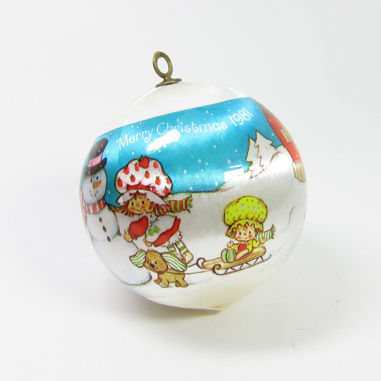 Strawberry Shortcake blue silk ball Christmas ornament