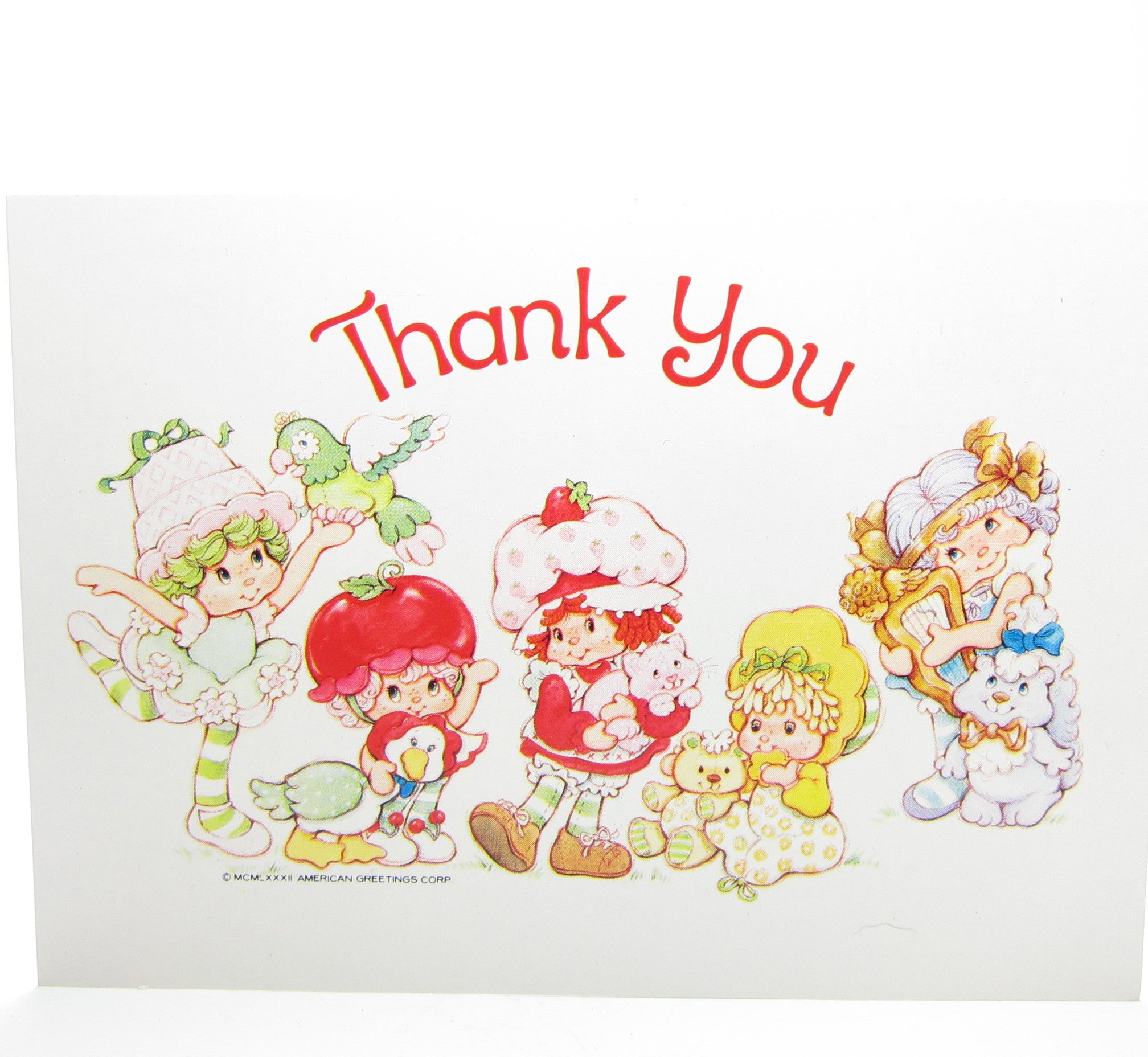 Thank You Postcard With Strawberry Shortcake Friends Brown
