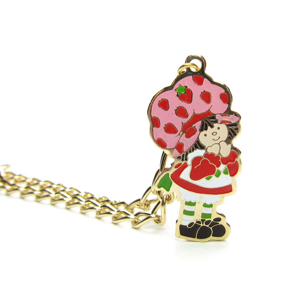 Strawberry Shortcake Bracelet Gold Vintage 1980 with Enameled Charm