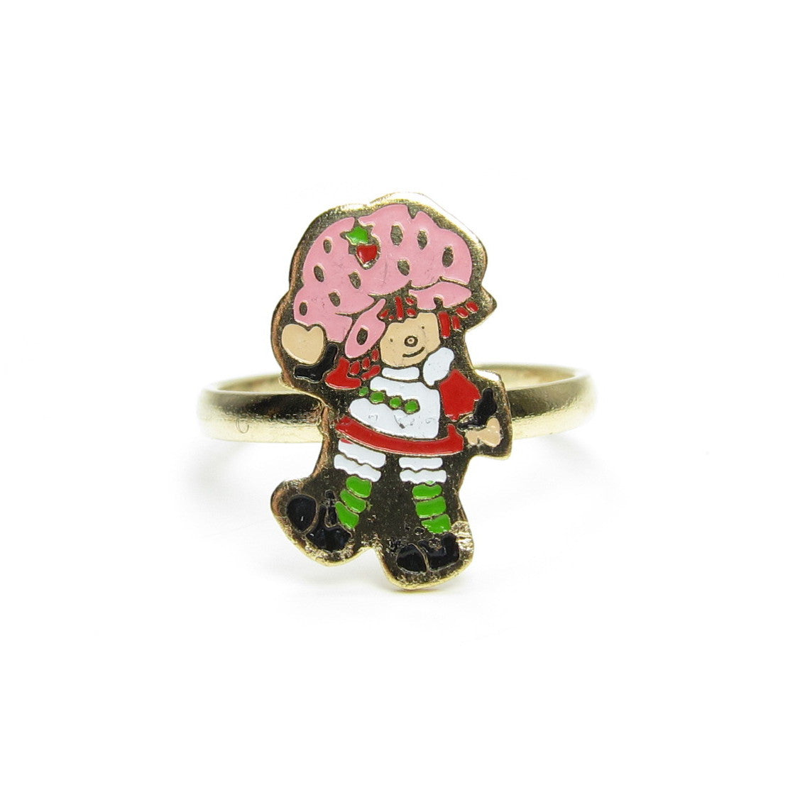Strawberry Shortcake enamel children's ring on gold band