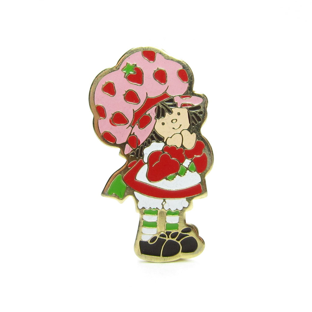 Strawberry Shortcake Pin Vintage Gold Brooch 1980
