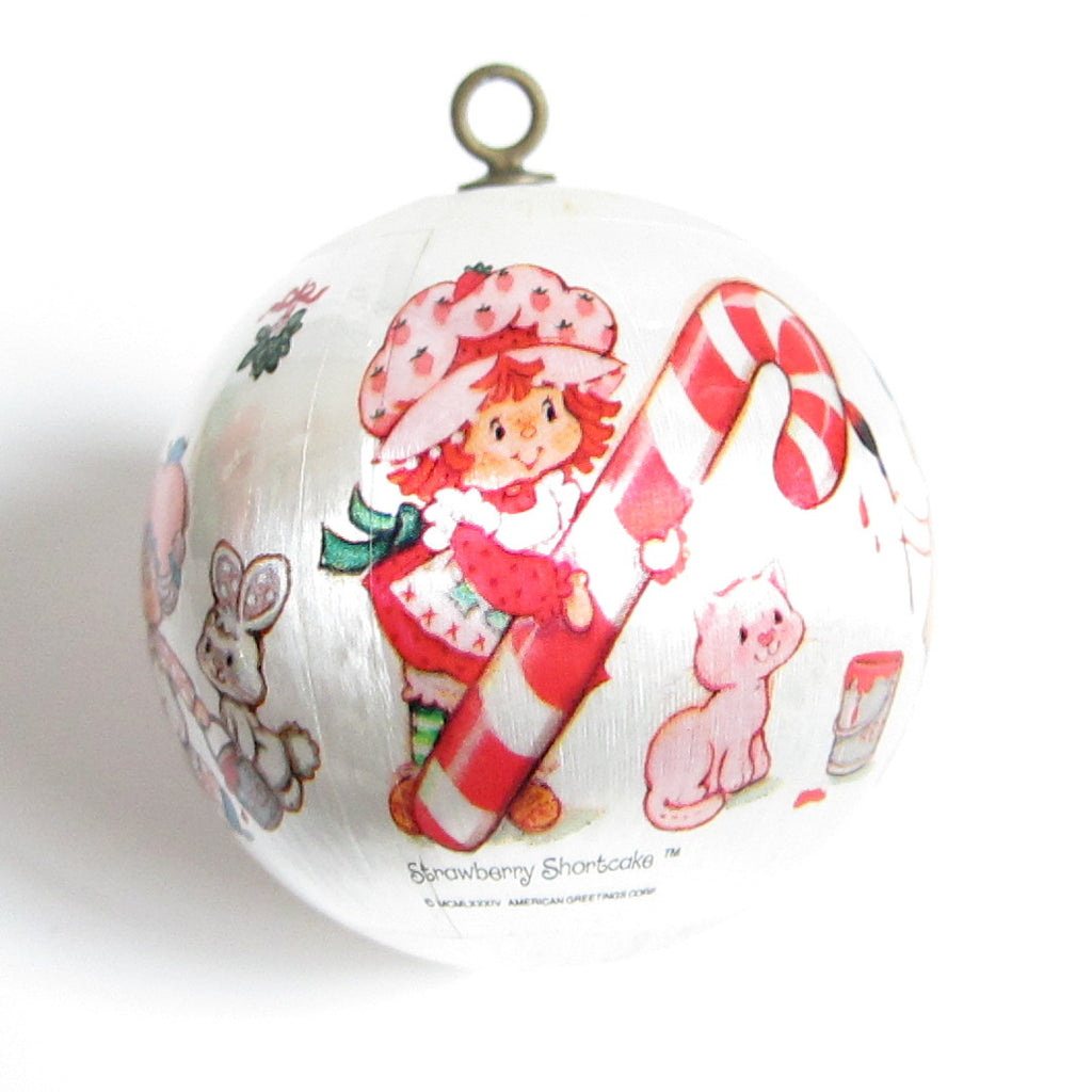 Strawberry Shortcake Christmas Ornament 1984 Silk Ball Tree Decoration