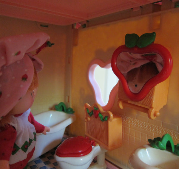 Bathroom Cabinet Mirror for Strawberry Shortcake Berry Happy Home Doll | Brown Eyed Rose