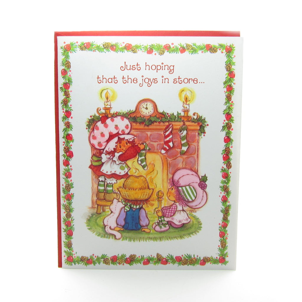 Happy Holidays Strawberry Shortcake Christmas Greeting Card with Fireplace