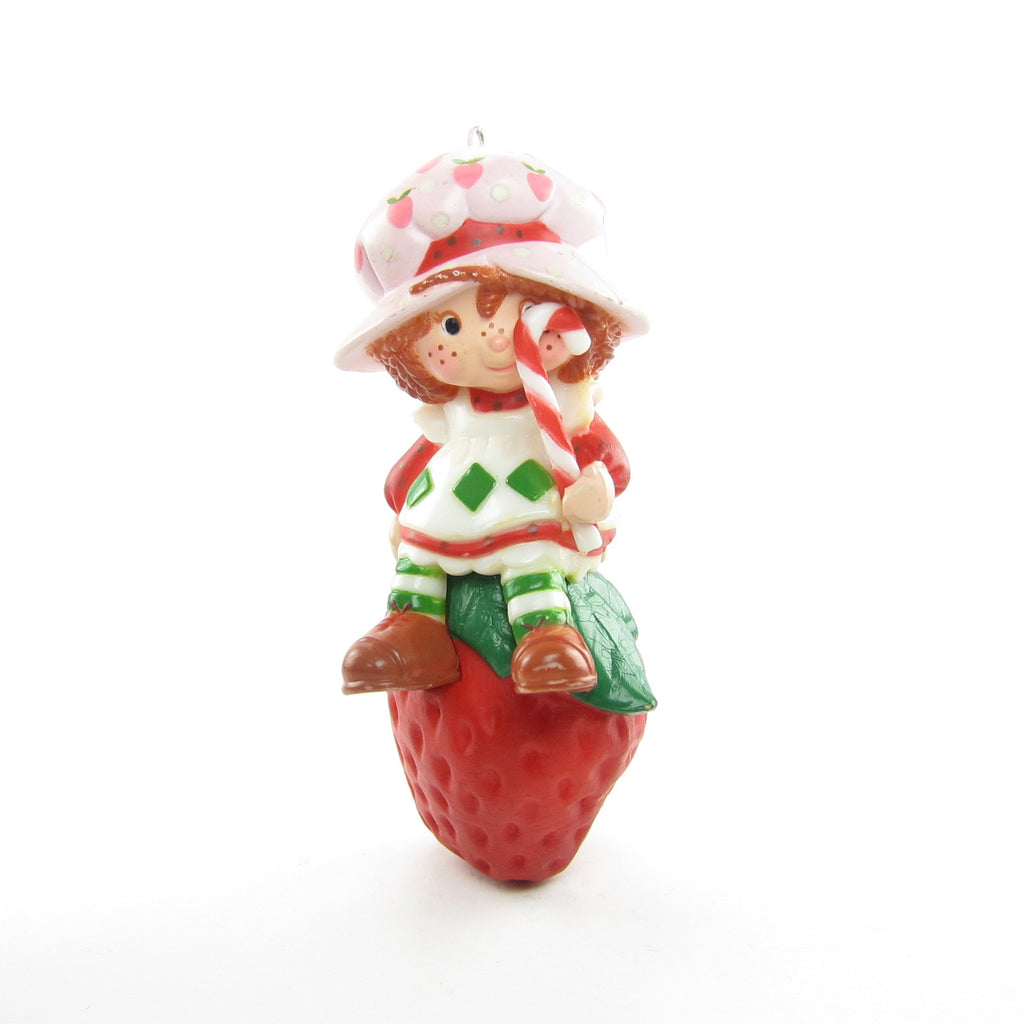 Strawberry Shortcake Ornament Vintage Christmas Tree Decoration with Candy Cane