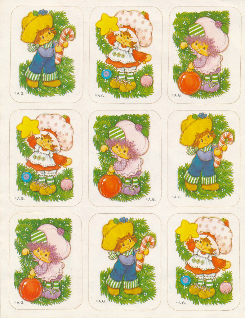 Strawberry Shortcake Christmas Tree Stickers Vintage Unused Sticker Sheet