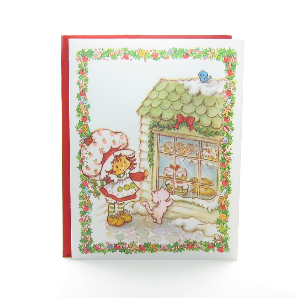 Strawberry Shortcake Christmas Card with Custard and Bakery Window