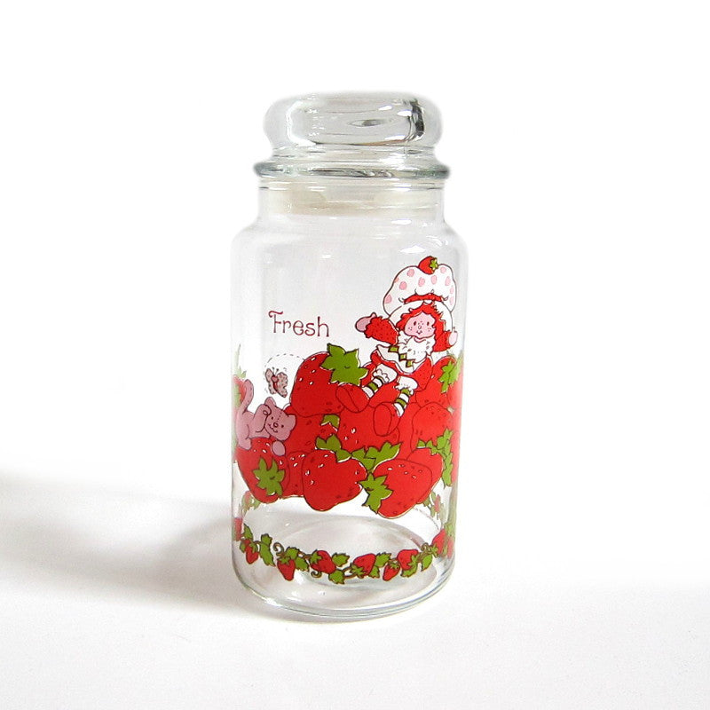 Strawberry Shortcake Jar Vintage Kitchen Canister with Lid and Strawberries, Custard