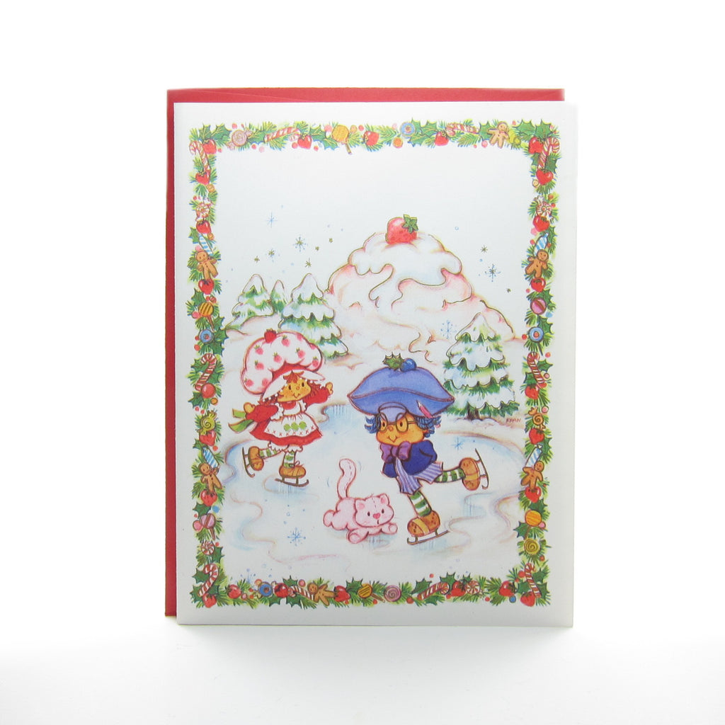 Strawberry Shortcake Holiday Greeting Card with Plum Puddin Ice Skating