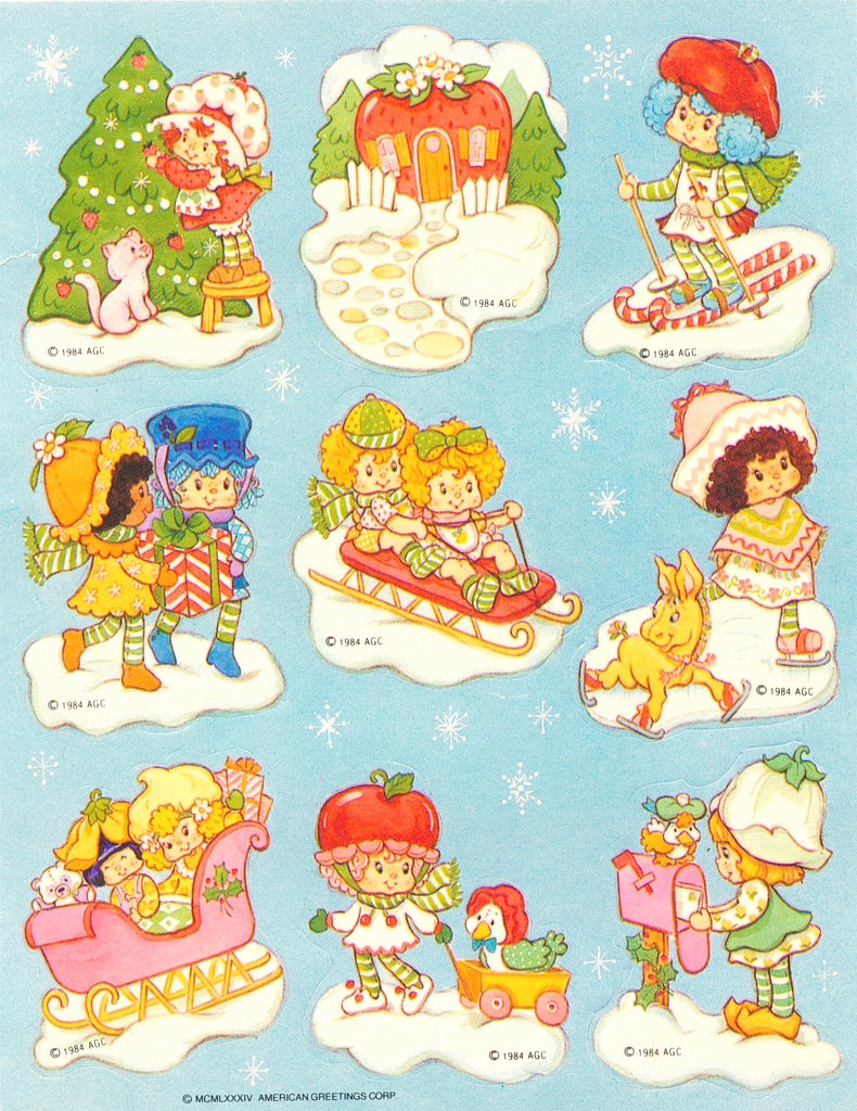 Strawberry Shortcake International Friends Christmas & Winter Stickers Vintage 1984 Unused Sticker Sheet