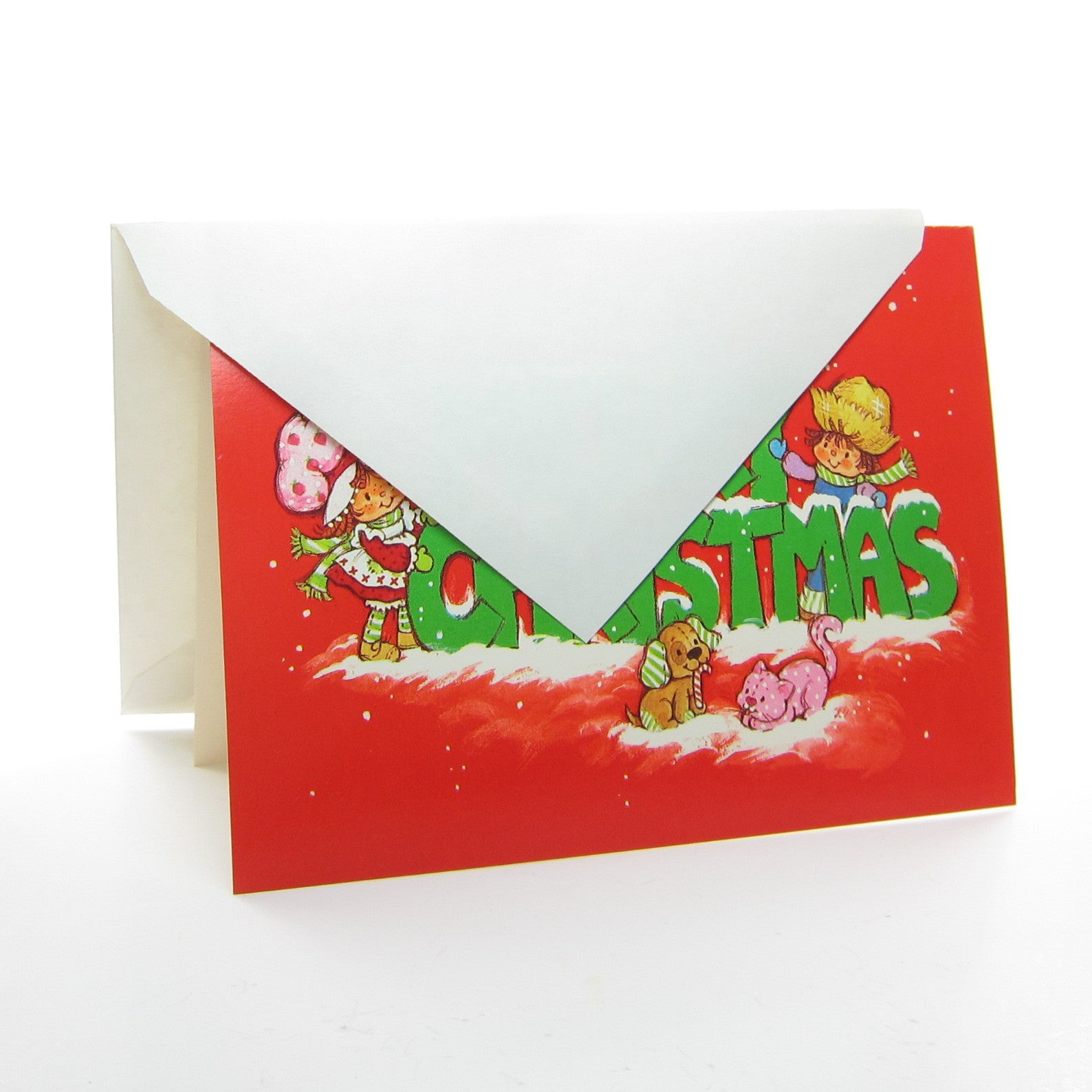 Merry Christmas Strawberry Shortcake Holiday Greeting Card With