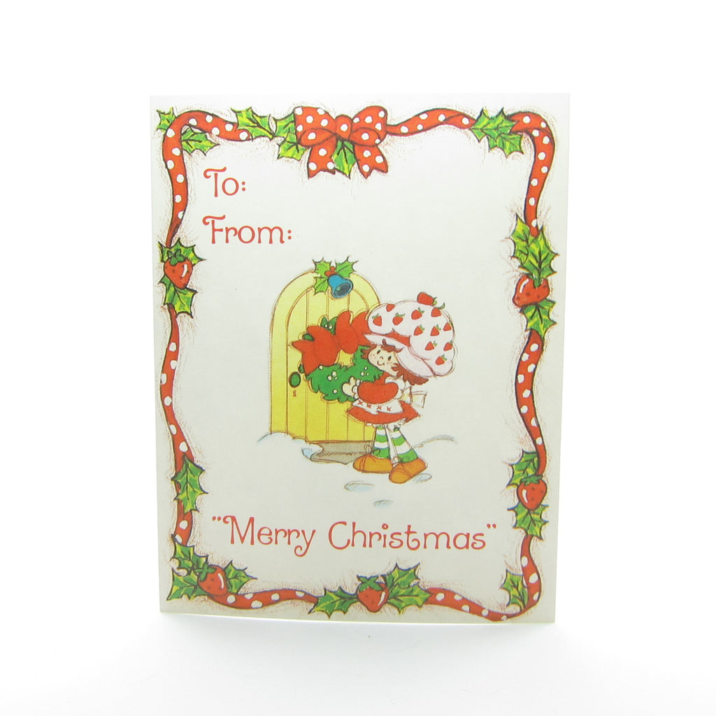Strawberry Shortcake Gift Tag - Merry Christmas with Door and Wreath