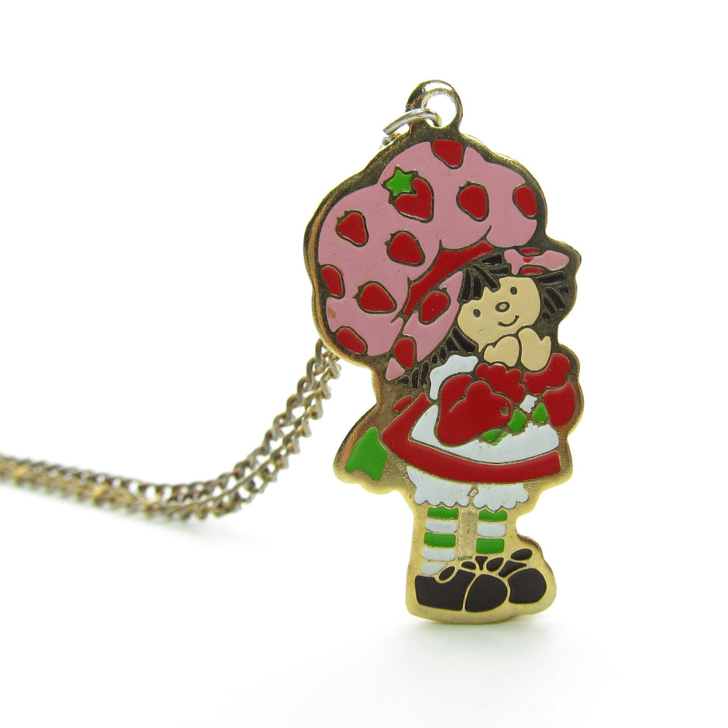 Strawberry Shortcake Necklace Gold Enameled Charm on Chain