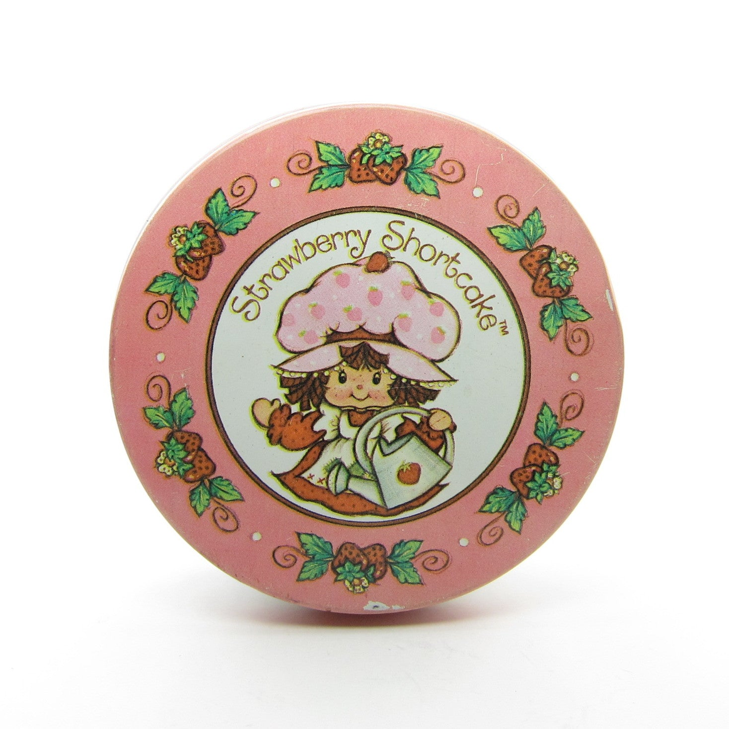 Strawberry Shortcake Tin Vintage Round Storage Container