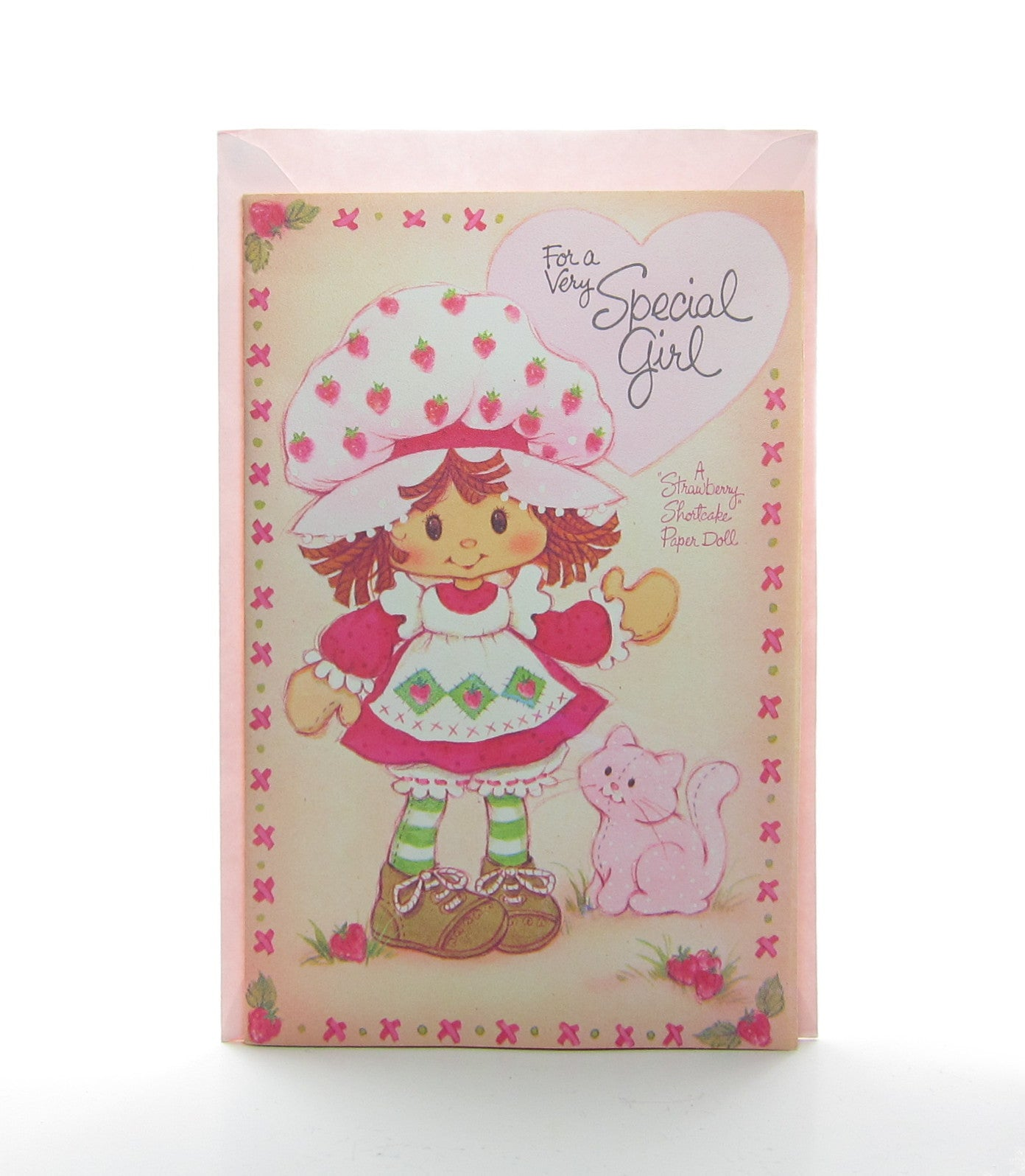 Strawberry Shortcake Valentine's Day paper doll card with envelope