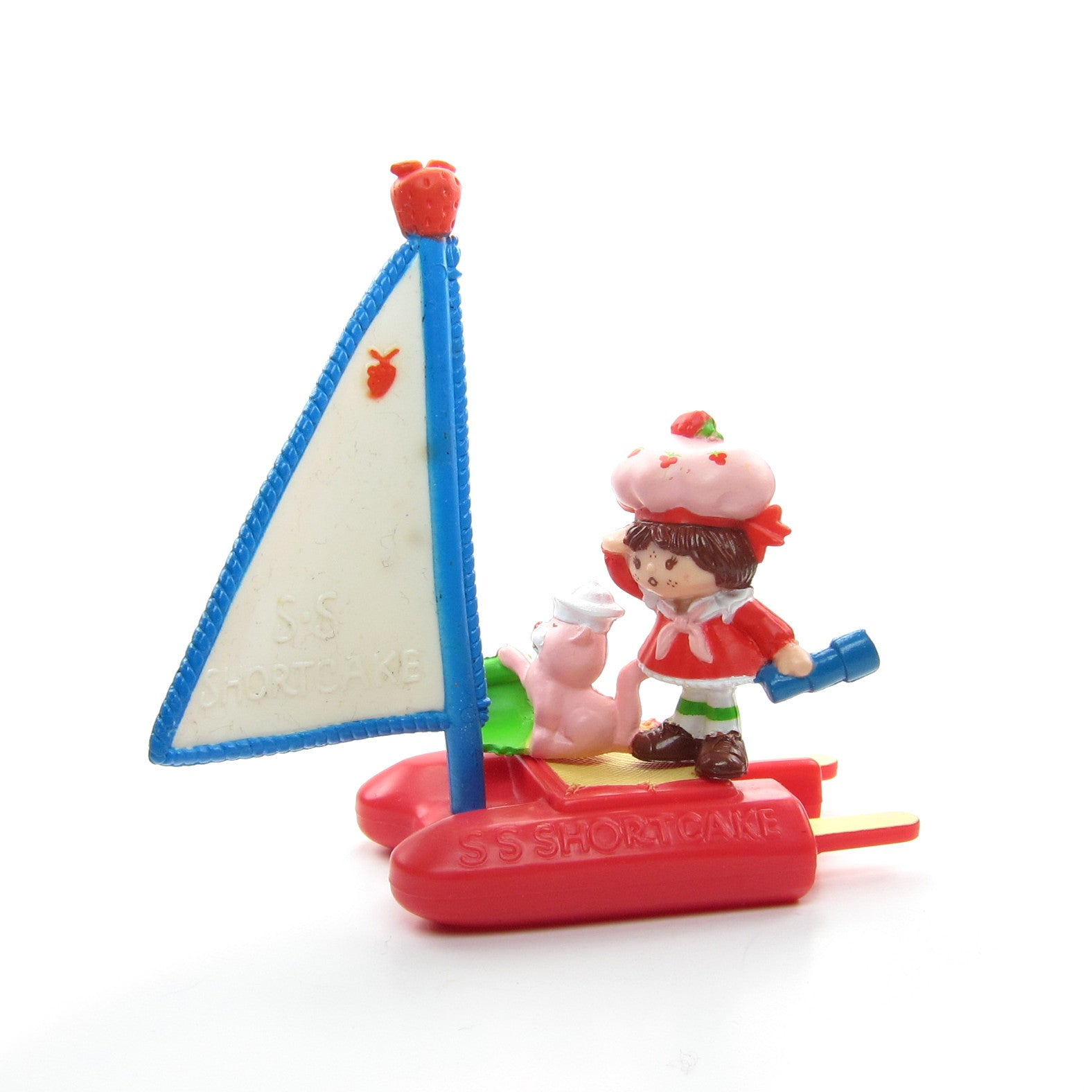 Strawberry Shortcake with Custard on a Sailboat figurine set