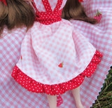 Blythe dress with pink gingham and strawberries