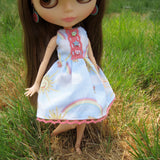 Blythe doll dress with pink trim and pastel buttons