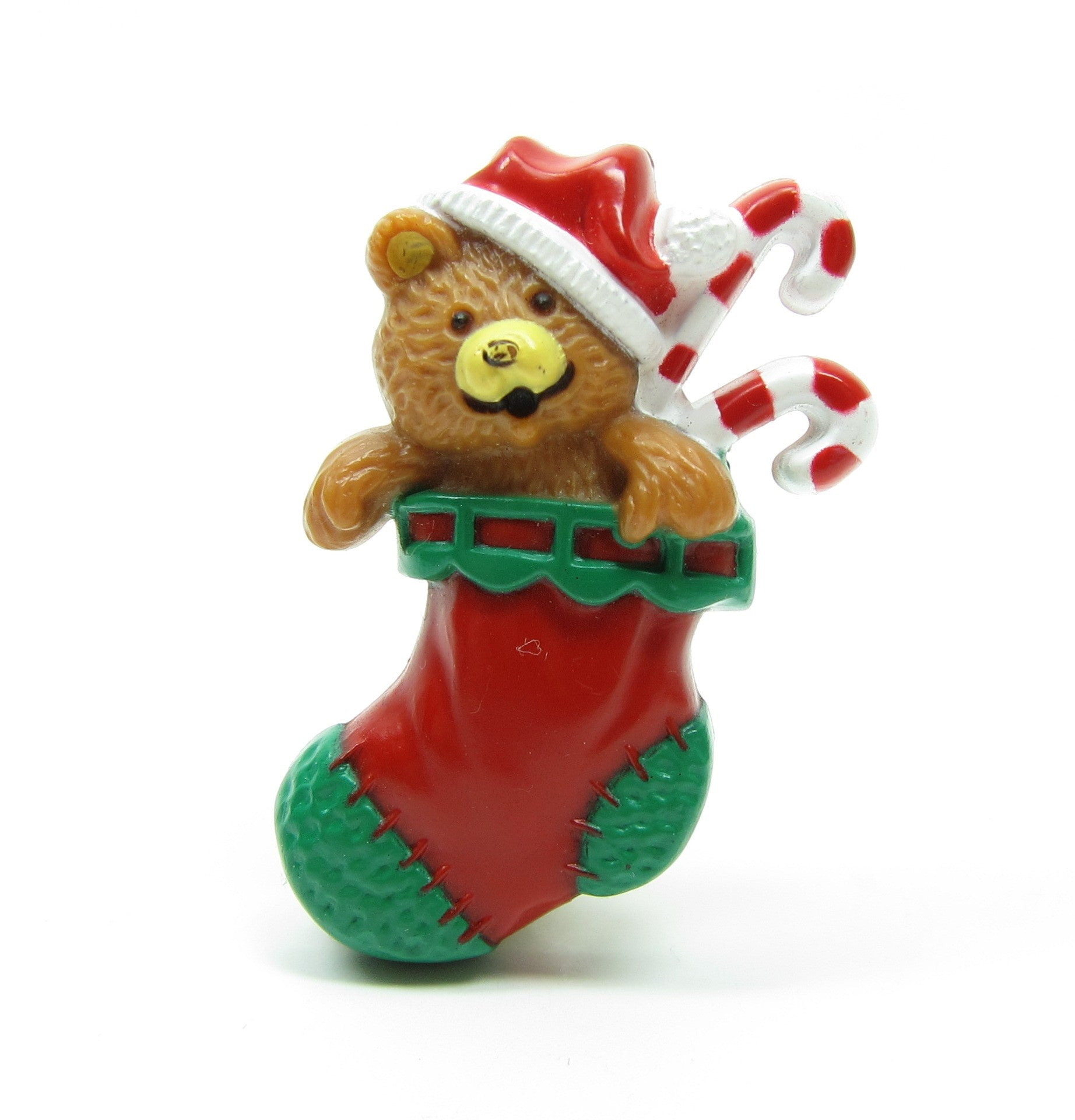 Teddy bear in Christmas stocking lapel pin