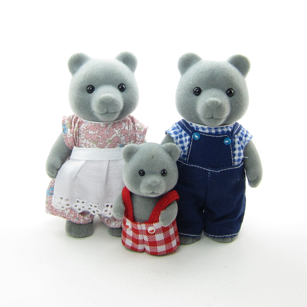 Evergreen Grey Bear Family Vintage Sylvanian Families Toys