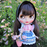 Blythe folk outfit with babushka, blouse, apron, skirt