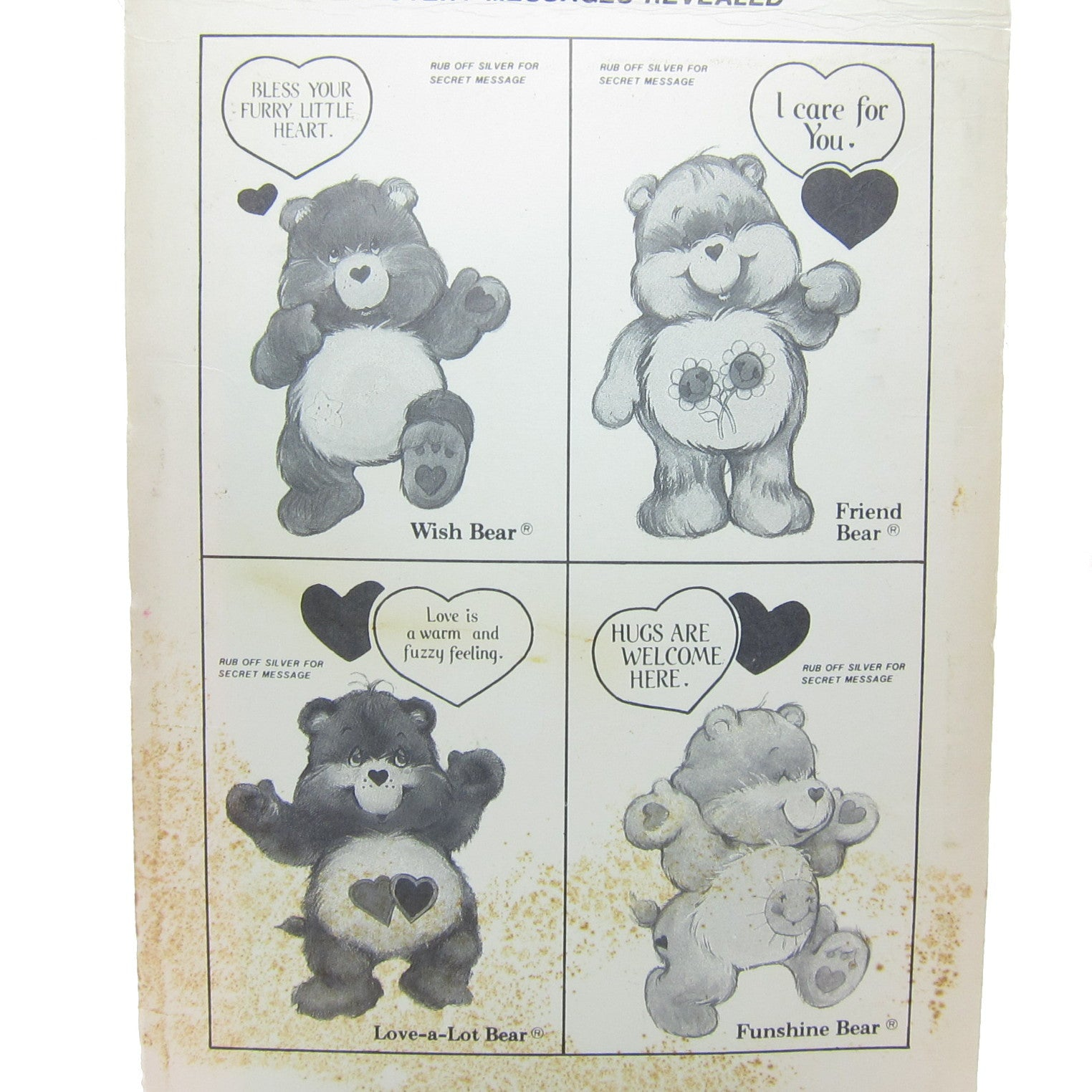 Care Bears Valentines with Mystery Messages Vintage Pack of 12