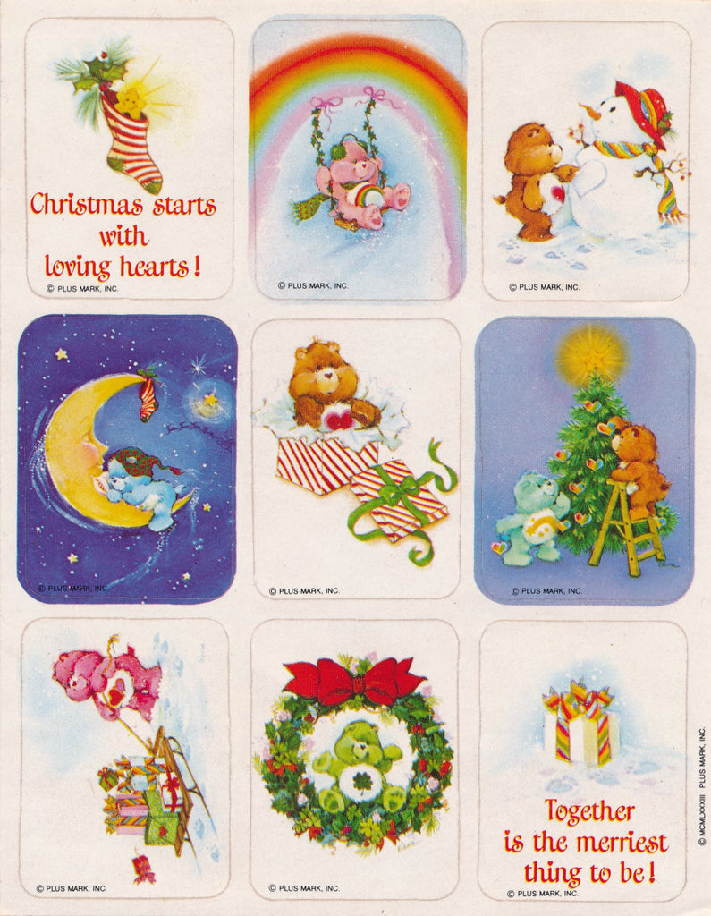 Care Bears Christmas Stickers Vintage 1983 Unused Sticker Sheet