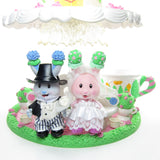 Tea Bunnies bride and groom with Wedding Tea Party playset