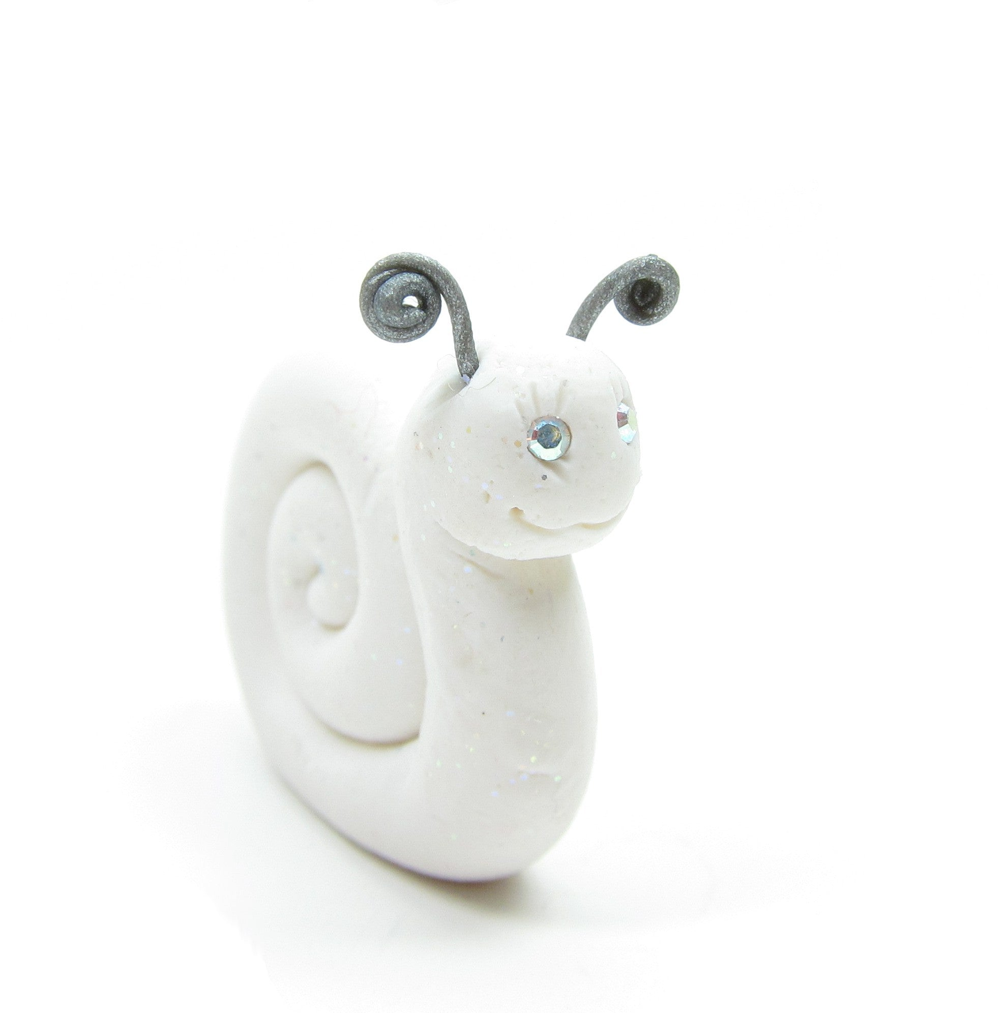 White Polymer Clay Snail Figurine