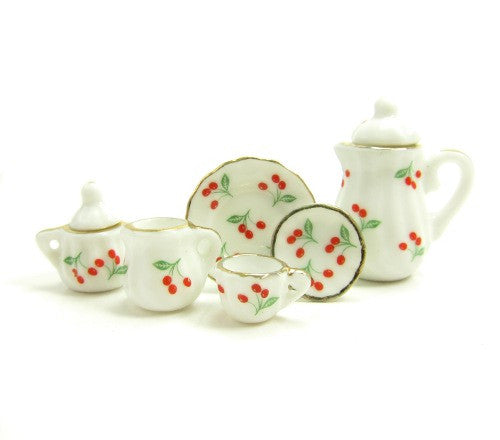 Miniature Tea Set Dollhouse 1:12 Scale White with Cherries
