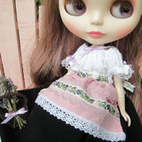 White peasant blouse for Blythe with purple ribbons