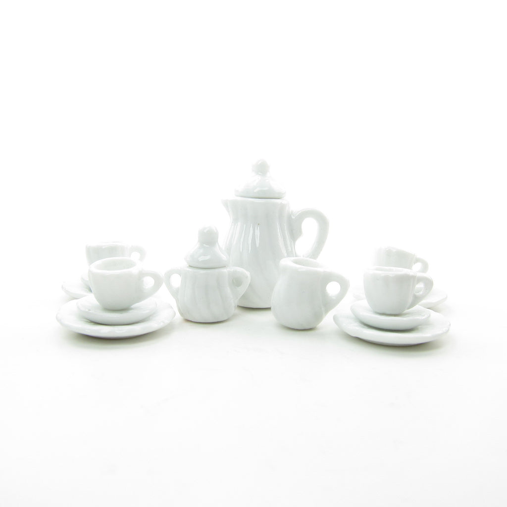 White Miniature Tea Set Dollhouse 1:12 Scale