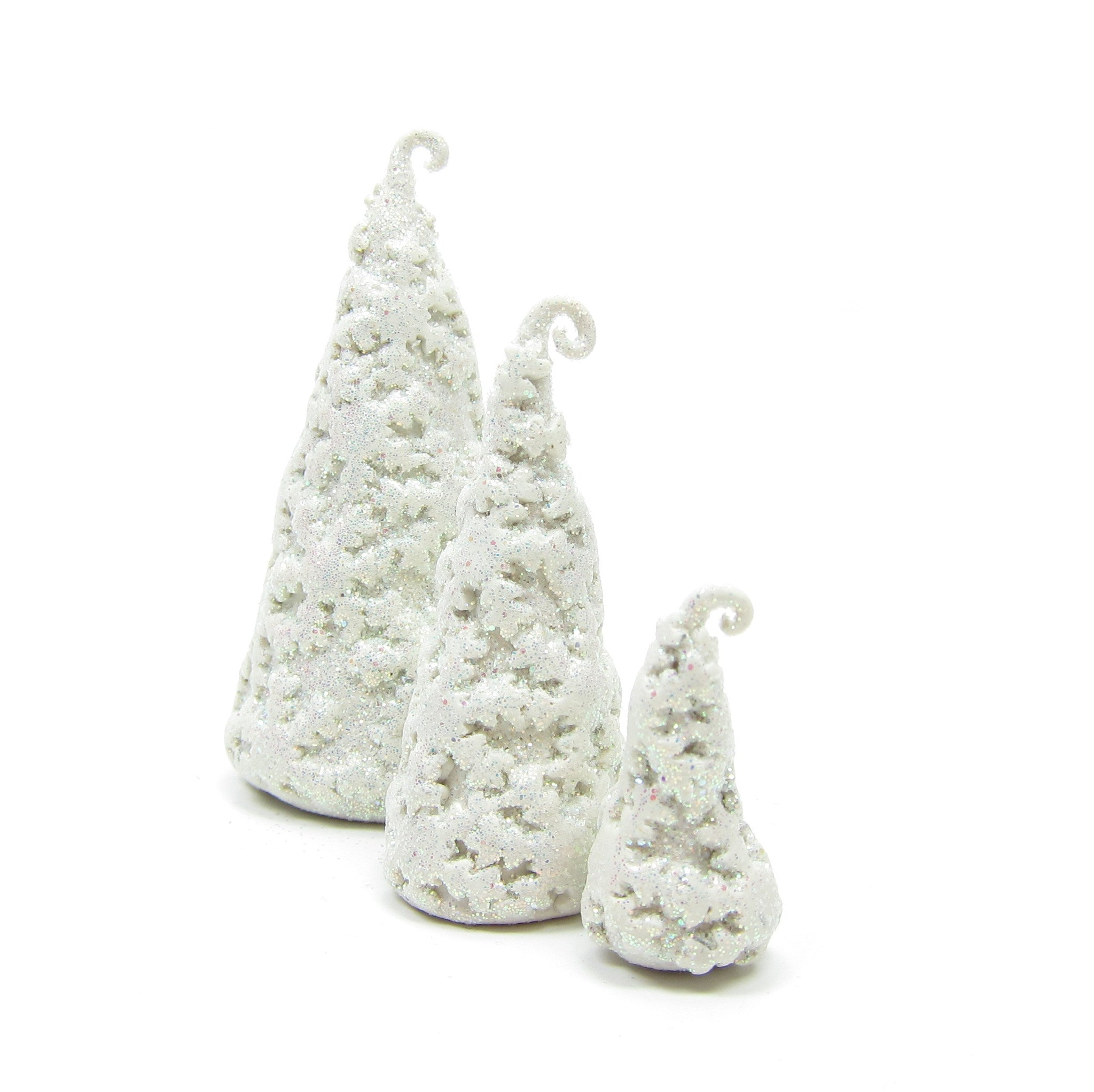 Snowflake trees polymer clay miniature figurines