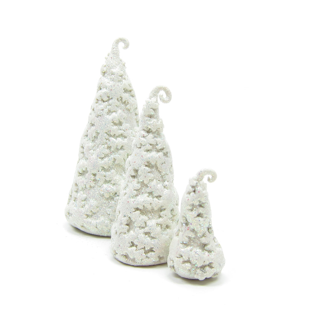 Snowflake Trees Polymer Clay White Winter Forest Miniature Figurines, Set of 3